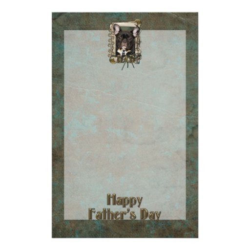 Fathers Day DAD Stone Paws - French Bulldog - Teal Custom Stationery