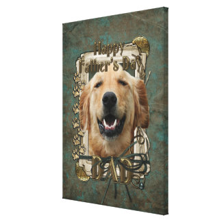 Fathers Day DAD Stone Paws Golden Retriever Mickey Gallery Wrapped Canvas