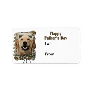 Fathers Day DAD Stone Paws Golden Retriever Mickey Label