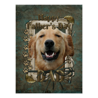 Fathers Day DAD Stone Paws Golden Retriever Mickey Poster