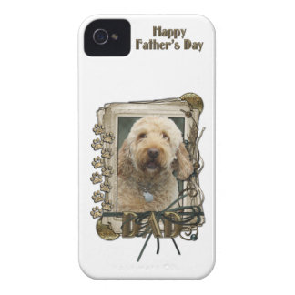 Fathers Day DAD - Stone Paws - GoldenDoodle iPhone 4 Cover