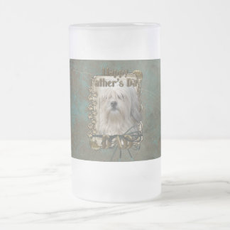 Fathers Day DAD - Stone Paws - Lowchen Frosted Glass Beer Mug