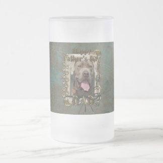 Fathers Day DAD - Stone Paws - Mastiff - Snoop Frosted Glass Beer Mug