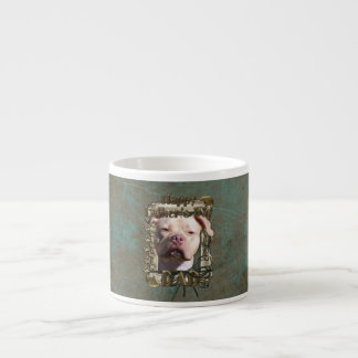 Fathers Day DAD Stone Paws - Pitbull - Jersey Girl Espresso Cup