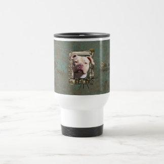 Fathers Day DAD Stone Paws - Pitbull - Jersey Girl Travel Mug