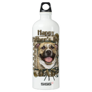 Fathers Day DAD - Stone Paws - Pitbull - Tigger Aluminum Water Bottle