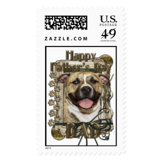 Fathers Day DAD - Stone Paws - Pitbull - Tigger Stamps