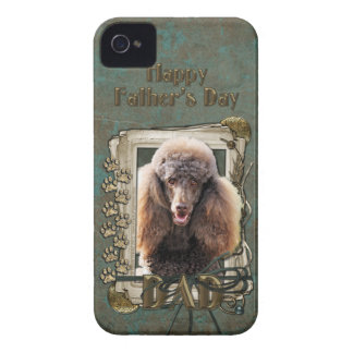 Fathers Day DAD - Stone Paws - Poodle - Chocolate iPhone 4 Cover