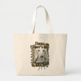 Fathers Day DAD - Stone Paws - Saluki Large Tote Bag