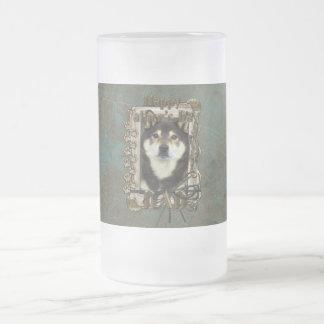 Fathers Day DAD - Stone Paws - Shiba Inu - Yasha Frosted Glass Beer Mug