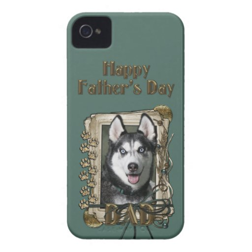 Fathers Day DAD - Stone Paws - Siberian Husky iPhone 4 Case-Mate Case