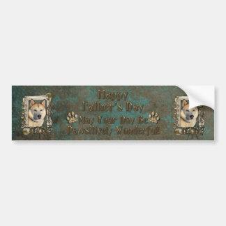Fathers Day DAD- Stone Paws Siberian Husky Copper Car Bumper Sticker