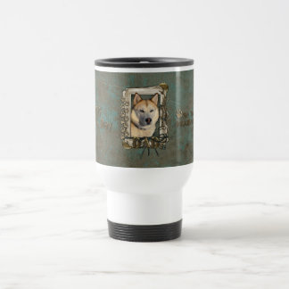 Fathers Day DAD- Stone Paws Siberian Husky Copper 15 Oz Stainless Steel Travel Mug