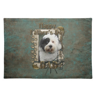 Fathers Day DAD - Stone Paws - Tibetan Terrier Cloth Placemat