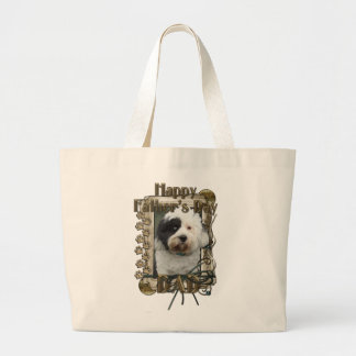 Fathers Day DAD - Stone Paws - Tibetan Terrier Large Tote Bag