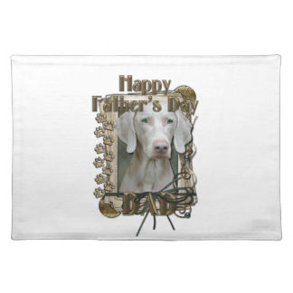 Fathers Day DAD - Stone Paws - Weimaraner Cloth Placemat