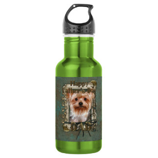 Fathers Day DAD - Stone Paws - Yorkshire Terrier Water Bottle