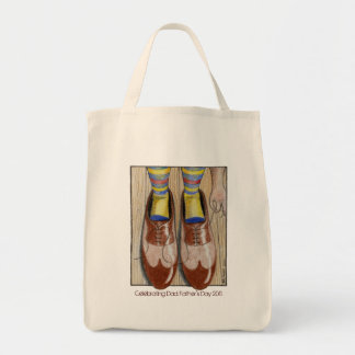 Father's Day Daddy's Shoes Grocery Tote Bag