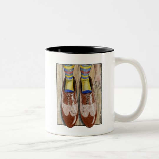Father's Day Daddy's Shoes Two-Tone Coffee Mug