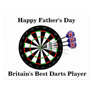 Father's Day Dart Board And Darts Postcard