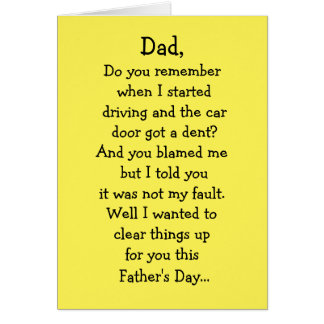 Father's Day Dented Car Card