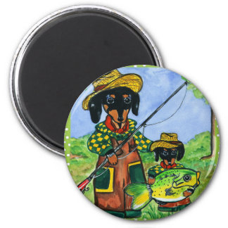 Fathers Day Doxies 2 Inch Round Magnet