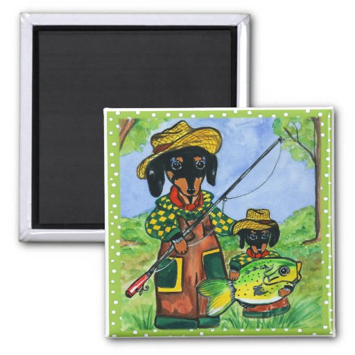 Fathers Day Doxies 2 Inch Square Magnet