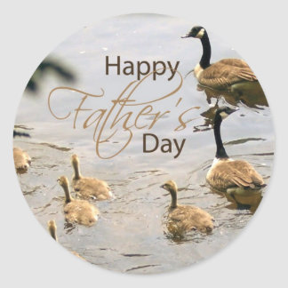 Father's Day Duckling Classic Round Sticker