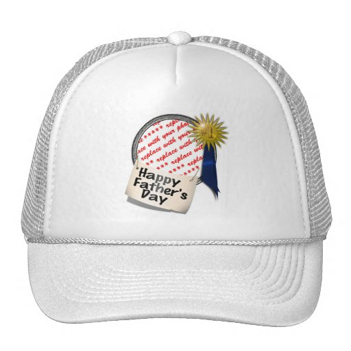 Father's Day First  Place Blue Ribbon For Any Dad Trucker Hat