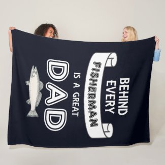 Father's Day Fishing Great Dad Fleece Blanket