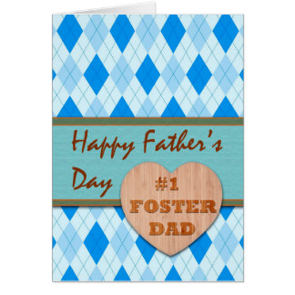 Father's Day for #1 Foster Dad, Argyle Design Card