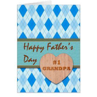 Father's Day for #1 Grandpa, Argyle Design Card