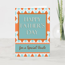 Father's Day for an Uncle, Argyle Geometric Design Card