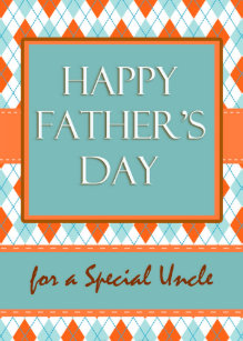 fathers day for an uncle argyle geometric design card