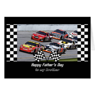 Father's Day for Brother, Stock Car Racing, Checks Card