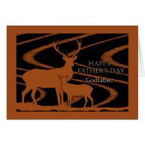 Father's Day for Godfather, Deer in Field Card
