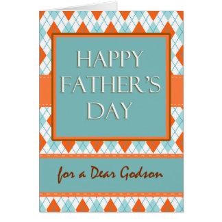 Father's Day for Godson, Diamond Argyle Design Card