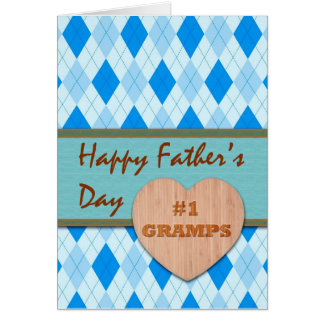 Father's Day for Gramps, Wood Heart, Argyle Design Card