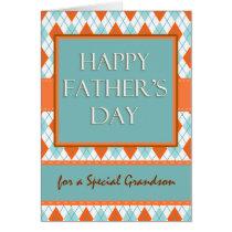 Father's Day for Grandson, Diamond Argyle Design Card
