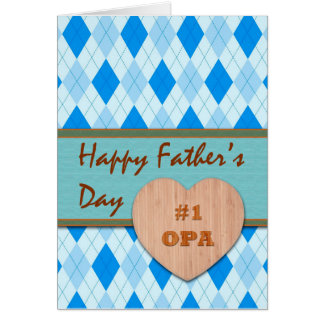 Father's Day for Opa, Wood Heart, Argyle Card