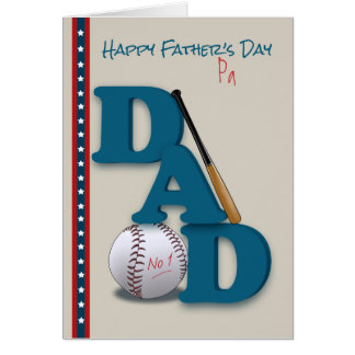 Father's Day for Pa Baseball Theme No.1 Dad Card