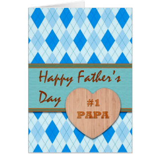 Father's Day for Papa, Wood Heart, Argyle Design Card