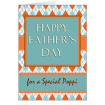Father's Day for Poppi, Diamond Argyle Design Card