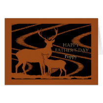 Father's Day for Poppy, Deer in a Field Woodcut Card