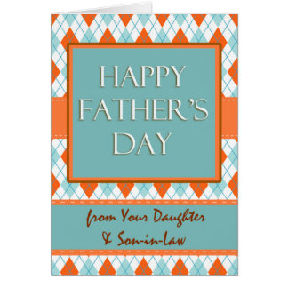 Father's Day from Daughter and Son-in-law, Argyle Card
