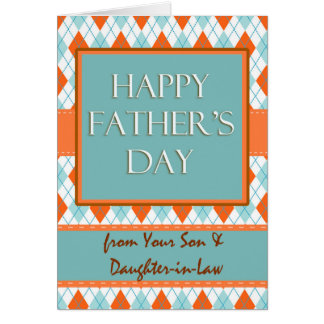 Father's Day from Son and Daughter-in-Law, Argyle Card
