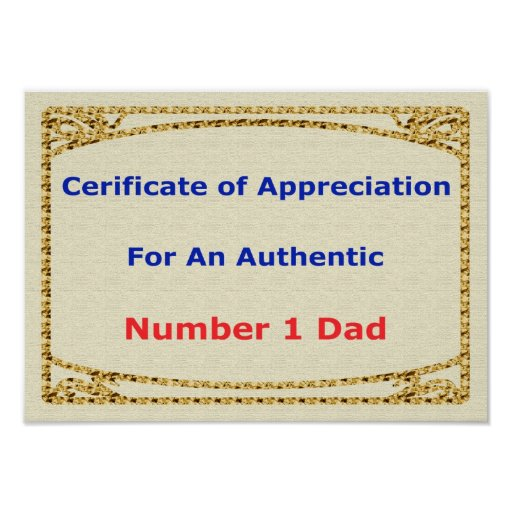 Father's Day Gift Certificate Of Appreciation Poster