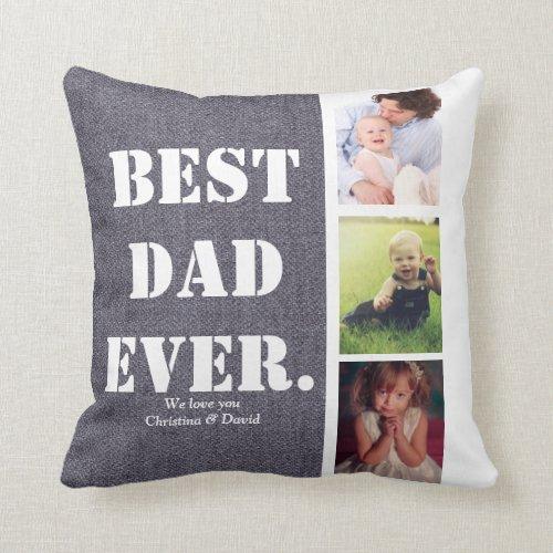 Fathers Day Gift Photo Collage Family Photos Throw Pillow