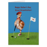 Father's Day, Great Grandfather, Bird Playing Golf Greeting Card