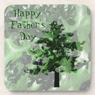 Father's Day Green Tree Silhouette Beverage Coaster